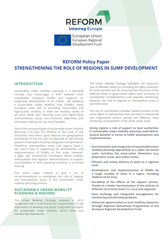 How to strengthen the role of regions in SUMP development?