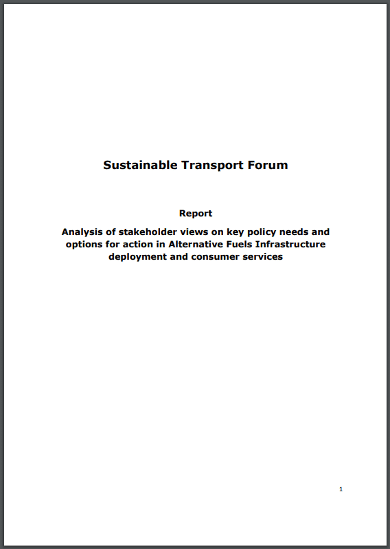 Sustainable Transport Forum publishes new report on alternative fuels