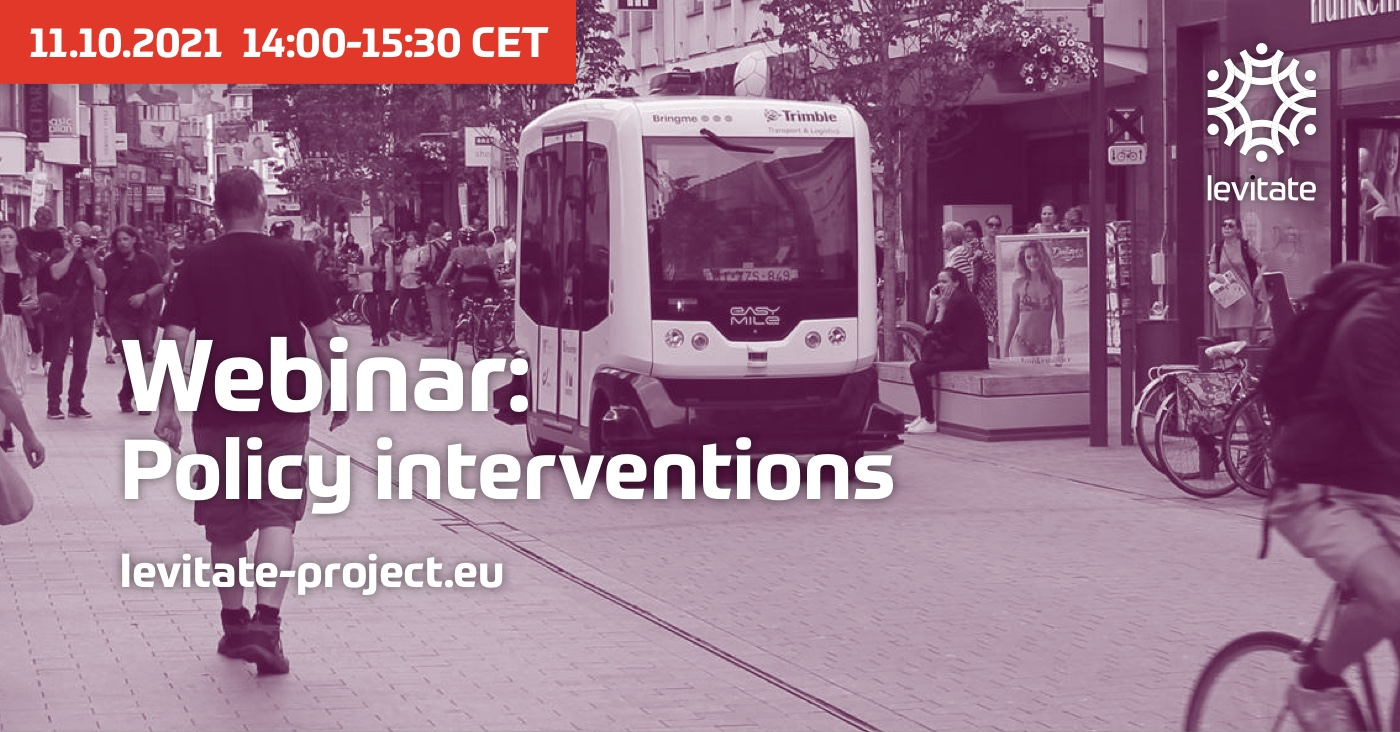 LEVITATE webinar on policy interventions: on-street parking, road user pricing and dedicated CAV lanes